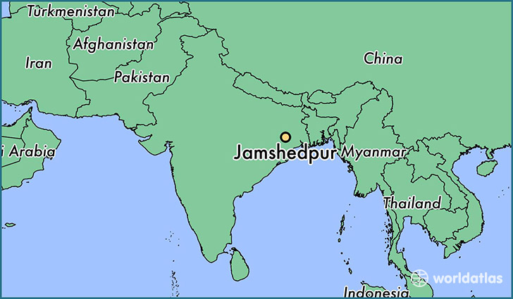 Where is jamshedpur india jamshedpur jharkhand map worldatlas map showing the location of jamshedpur gumiabroncs Gallery