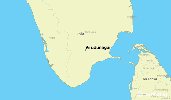 map showing the location of Virudunagar