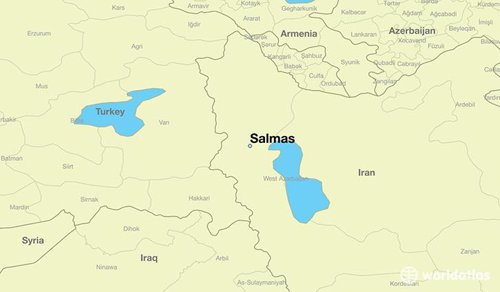Where is salmas iran salmas azarbayjan e gharbi map map showing the location of salmas gumiabroncs Choice Image