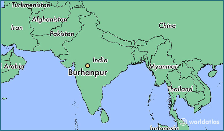 map showing the location of Burhanpur
