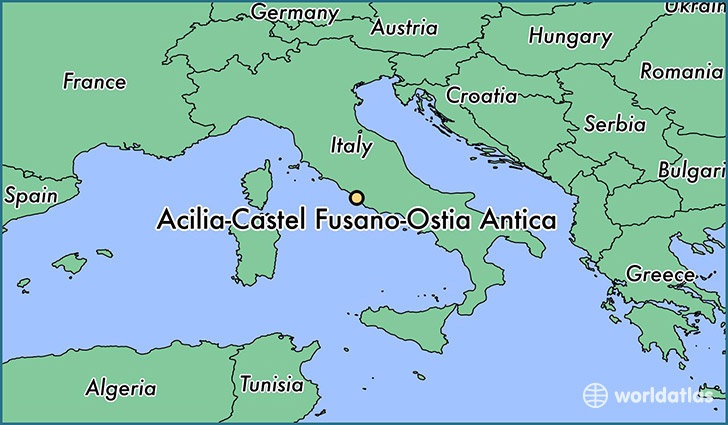 map showing the location of Acilia-Castel Fusano-Ostia Antica