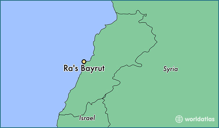 map showing the location of Ra's Bayrut