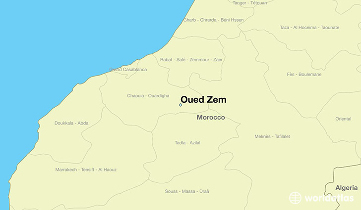 map showing the location of Oued Zem