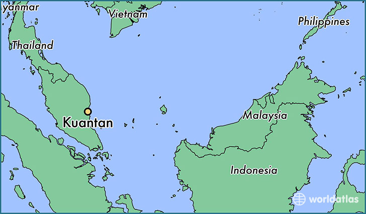 map showing the location of Kuantan