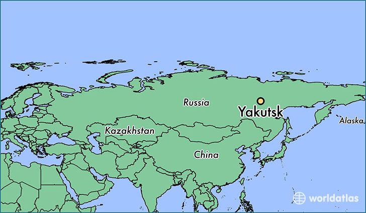 map showing the location of Yakutsk