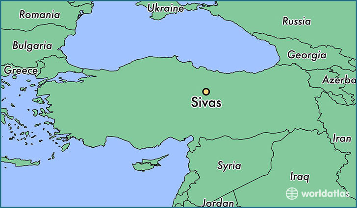 map showing the location of Sivas