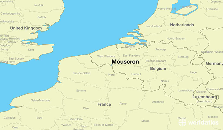 map showing the location of mouscron