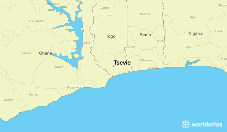 map showing the location of Tsevie