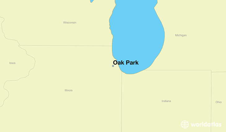map showing the location of Oak Park