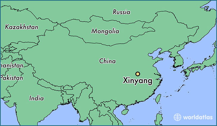 map showing the location of Xinyang