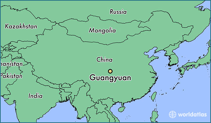 map showing the location of Guangyuan