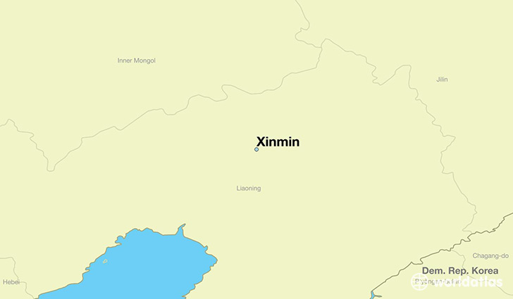 map showing the location of Xinmin