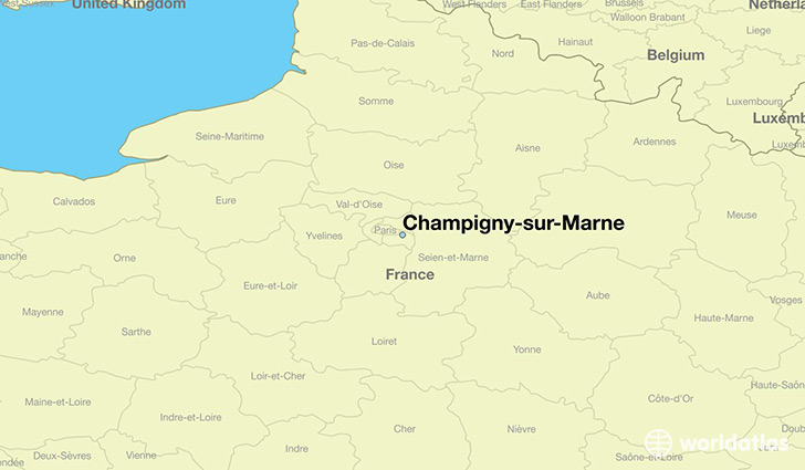 map showing the location of Champigny-sur-Marne