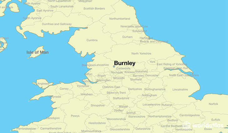map showing the location of Burnley