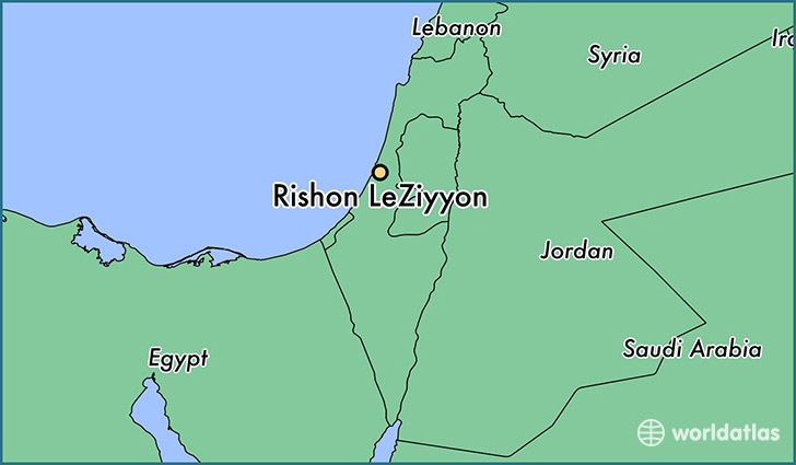 map showing the location of Rishon LeZiyyon
