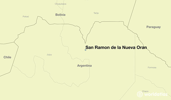 map showing the location of San Ramon de la Nueva Oran