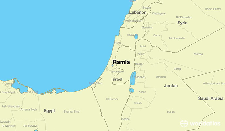map showing the location of Ramla