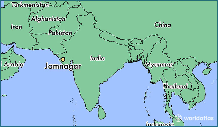 map showing the location of Jamnagar