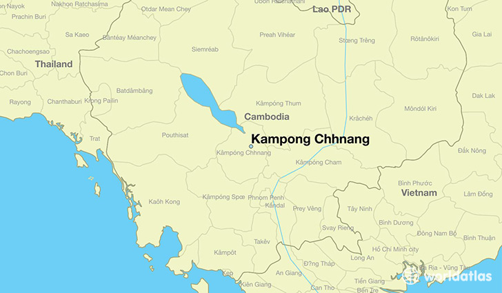 map showing the location of Kampong Chhnang