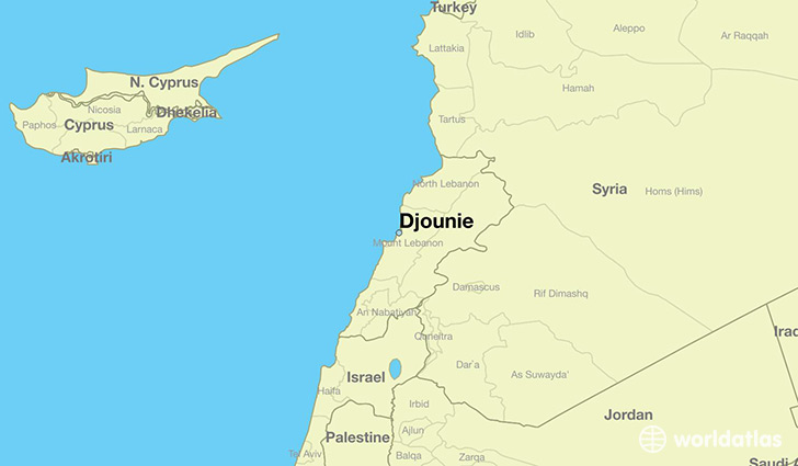 map showing the location of Djounie