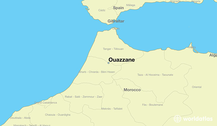 map showing the location of Ouazzane
