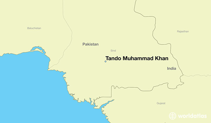 map showing the location of Tando Muhammad Khan
