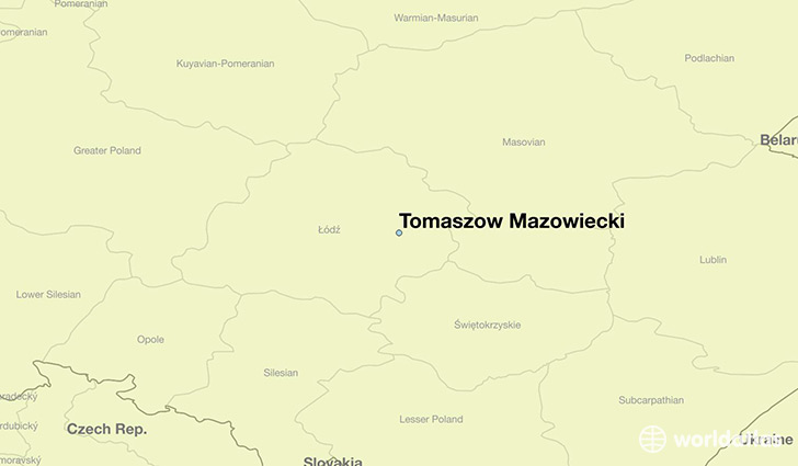 map showing the location of Tomaszow Mazowiecki