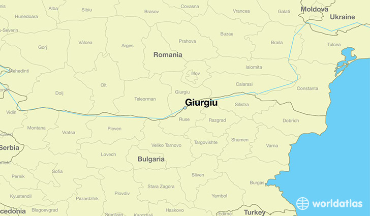 map showing the location of Giurgiu