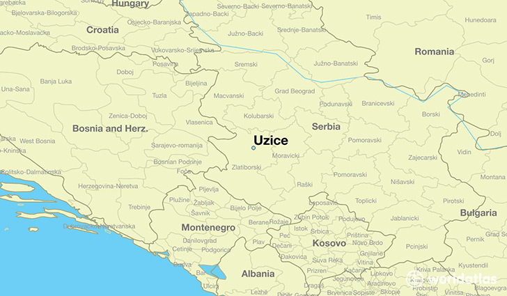 Where is uzice serbia uzice central serbia map worldatlas map showing the location of uzice gumiabroncs Gallery