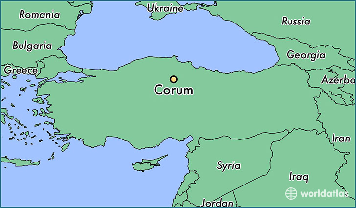 map showing the location of Corum