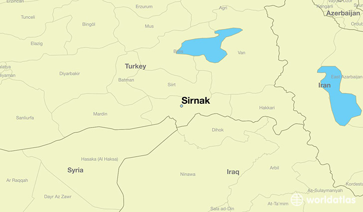 map showing the location of Sirnak