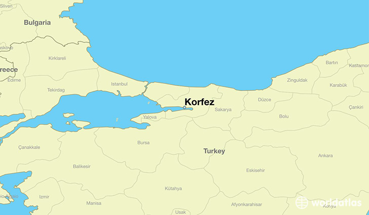 map showing the location of Korfez