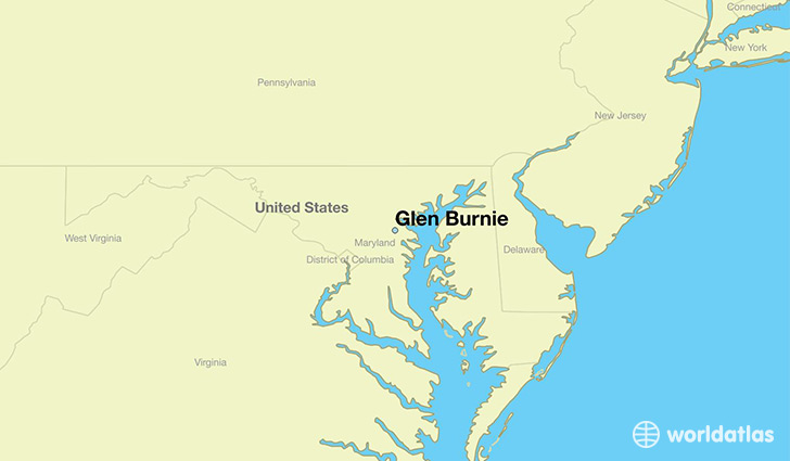 map showing the location of Glen Burnie