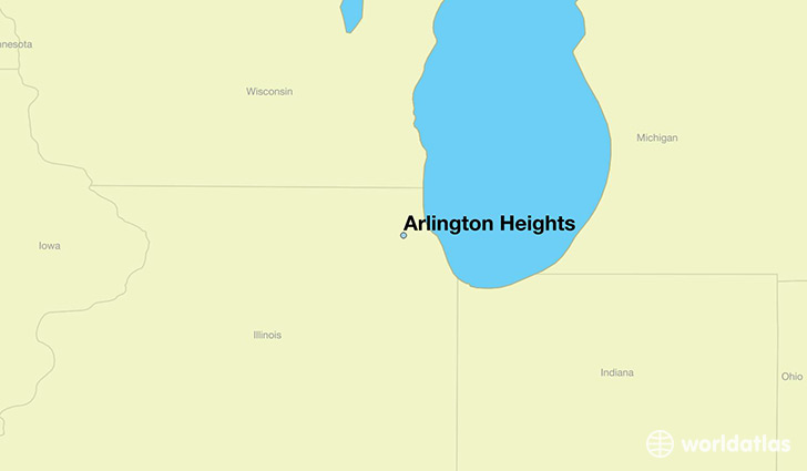 map showing the location of Arlington Heights