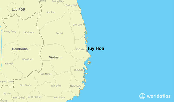 map showing the location of Tuy Hoa