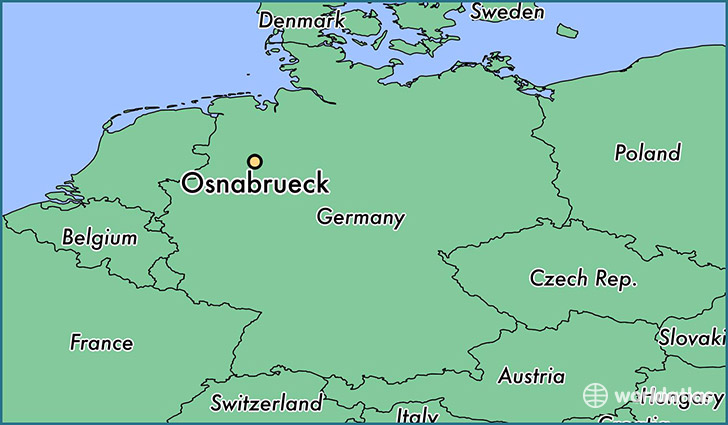 map showing the location of Osnabrueck