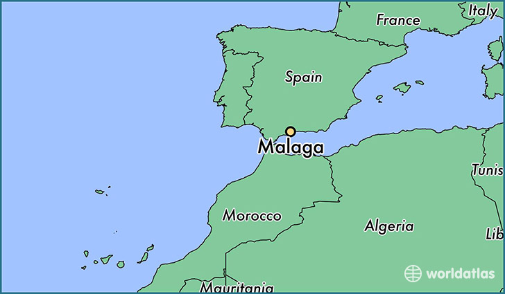 map showing the location of Malaga