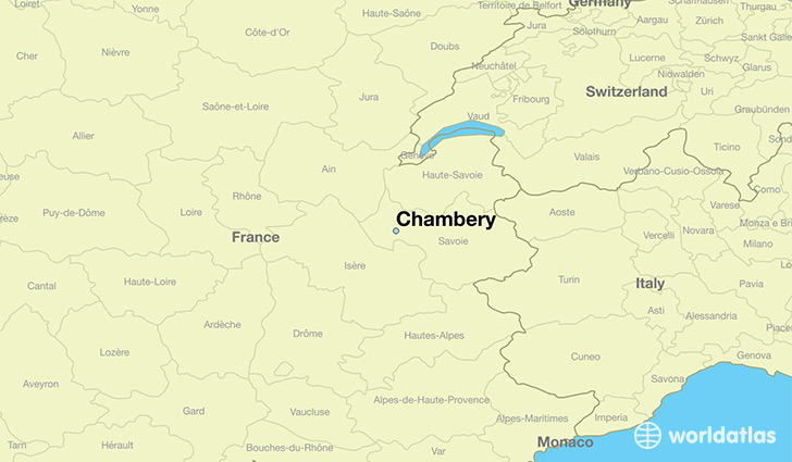 map showing the location of Chambery