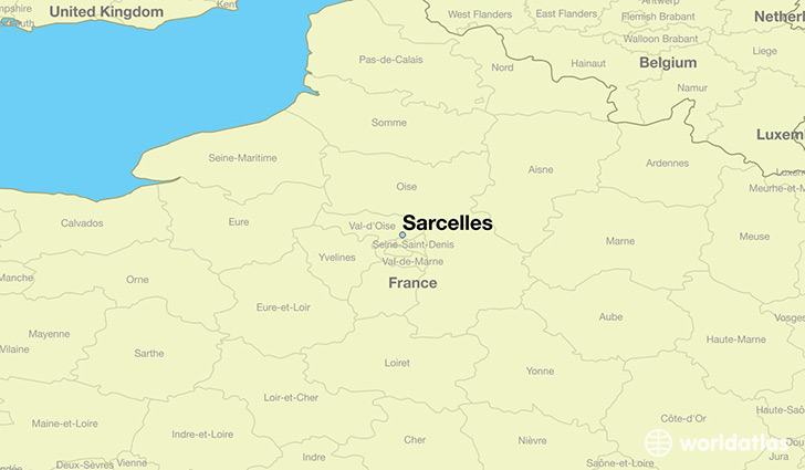 map showing the location of Sarcelles