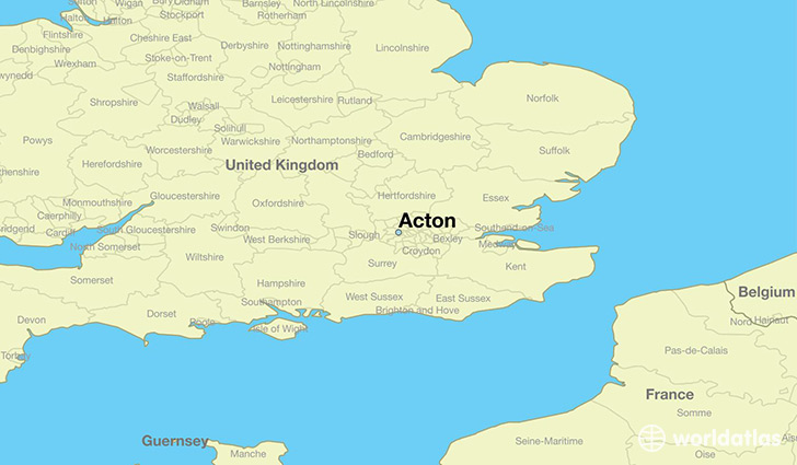 Where is acton england acton england map worldatlas map showing the location of acton gumiabroncs Gallery