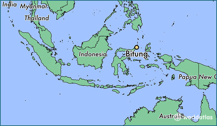 map showing the location of Bitung