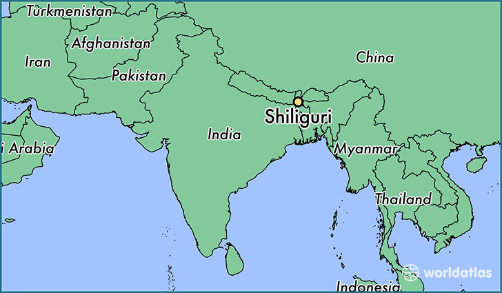 map showing the location of Shiliguri