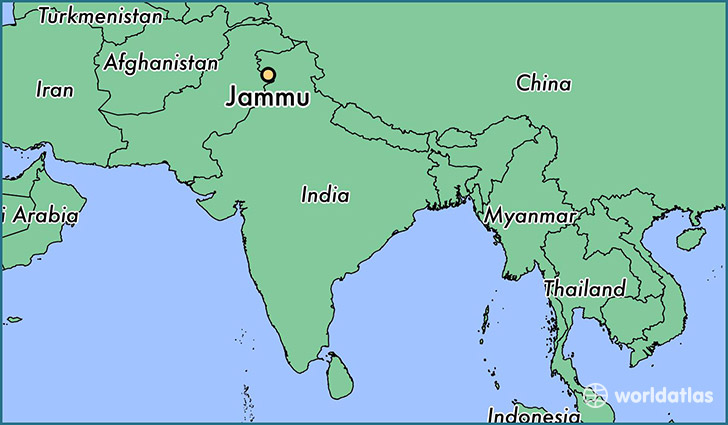 map showing the location of Jammu