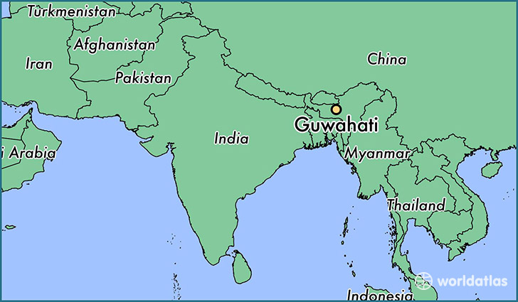 map showing the location of Guwahati