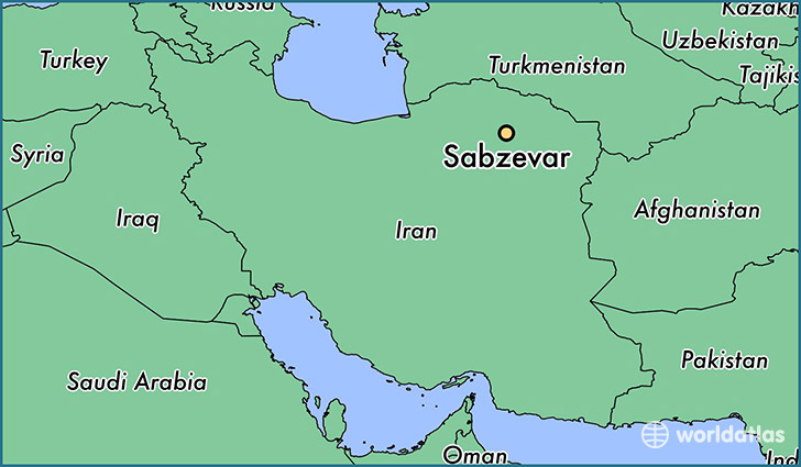 map showing the location of Sabzevar