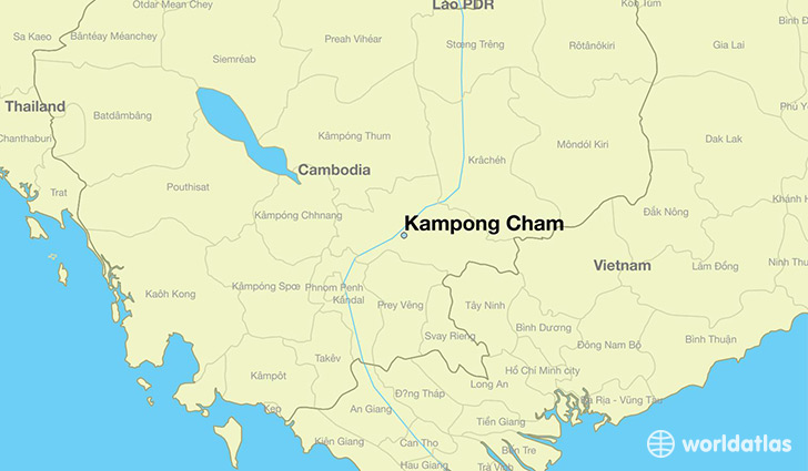 map showing the location of Kampong Cham