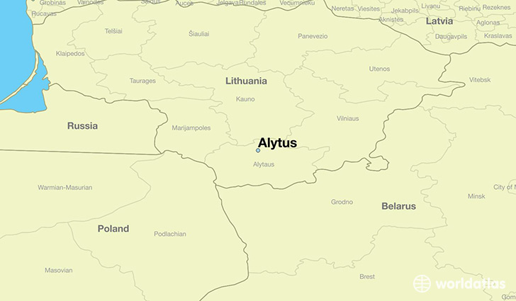 map showing the location of Alytus