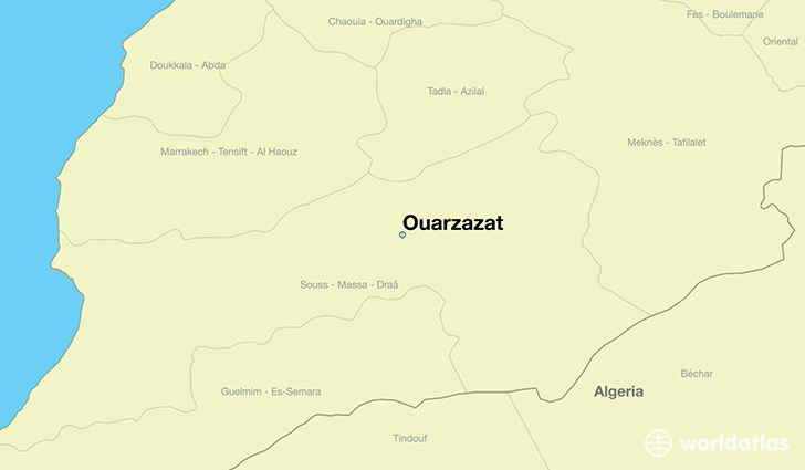 map showing the location of Ouarzazat