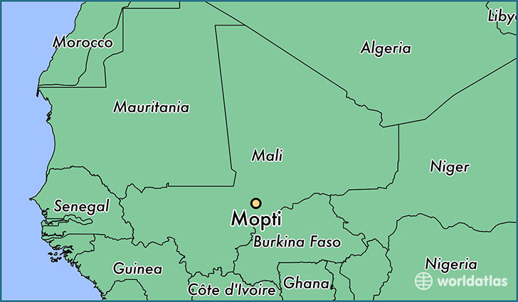 map showing the location of Mopti