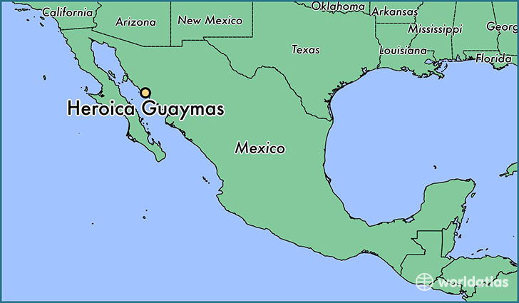 map showing the location of Heroica Guaymas